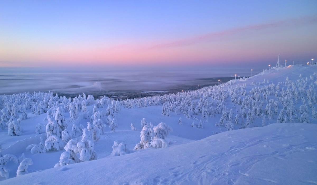 Rukan auringonlasku tammikuussa