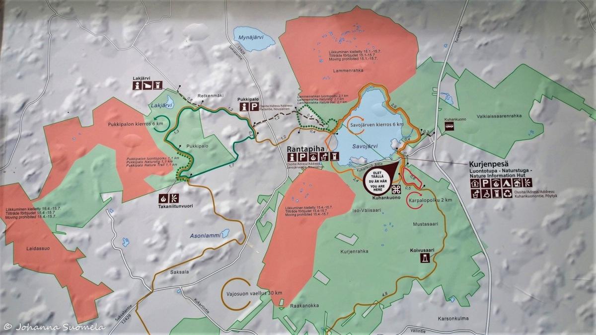 Kurjenrahkan kansallispuisto kartta